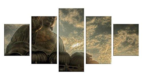 Wind Goddess Costume (Buddhist Buddhism Canvas Wall Decor - 5 Pieces Appreciation Wall Art - Oil Painting - Unframed - Living Room Bedroom Garden Decoration - Jade Gautama Buddha #09)