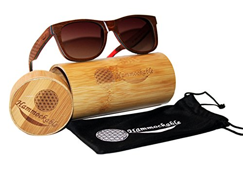 Handmade Maple Wood Sunglasses - Polarized UV400 Lenses in a Wooden Wayfarer that Floats! 2 ✅HANDMADE WOODEN FRAME SUNGLASSES - Handmade with 100% natural maple wood (stronger and more durable than bamboo sunglasses) - every pair is as unique as you are! ✅ ENVIRONMENTALLY FRIENDLY and SUSTAINABLE - Crafted from real maple wood (unused scrap from skateboards) in stylish brown, black and natural finishes. PLUS 5 trees planted for every purchase! ✅ DESIGNER POLARIZED LENSES - Polarized lenses for superhero sharp vision and UV400 rated sun protection. STAINLESS STEEL DOUBLE SPRING LOADED HINGES - Smooth spring loaded temples for an easy, comfortable fit for both men and women.