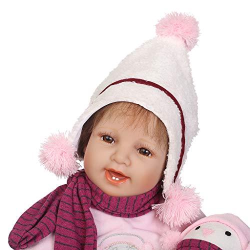 Feamos Reborn Dolls Silicone Full Body Smile Girl with Penguin Plush Soft Vinyl Doll for Birthday Christmas Toy Gift - Body Full Penguin