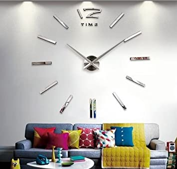 Fashion Large DIY Wall Clock Home Decor 3D Mirrors Sticker Cool Big Timer Silver