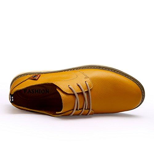 Abby 1333 Hombres Bussiness Zapatos De Trabajo Moda Casual Cuero Atlético Comfy Amarillo