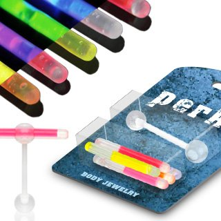 Glow Stick Barbell Ring (Tongue Rings Glowstick Barbell Holder plus pack of glow sticks Body Accentz® clear ball tongue)