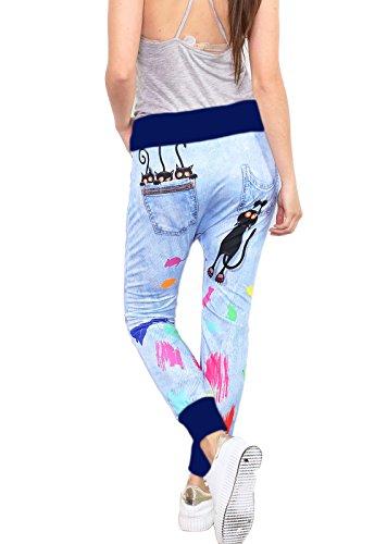 si moda Pantalon - Baggy - Femme Multicolore Mehrfarbig Taille Unique Bleu