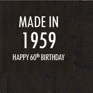 50 napkins 60th Birthday Black Cocktail Napkins Mandeville Party Company HB30NAP50 Made in 1959
