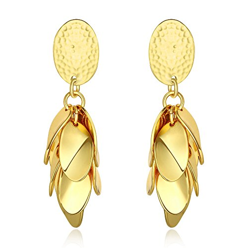 Women's Wedding Engagement Jewelry 18k Gold Plated Stylish Dangle Earrings (yellow gold)