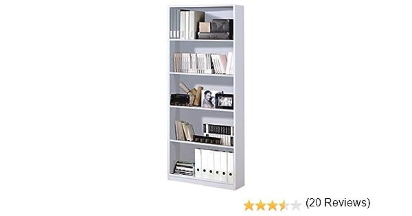 Habitdesign 005626BO - Estantería de Oficina Alta, estanteria Comedor o despacho, Modelo Stylus, Acabado en Color Blanco Brillo, Medidas: 80 cm ...