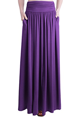 (TRENDY UNITED Women's Rayon Spandex High Waist Shirring Maxi Skirt With Pockets (EPT, Small))