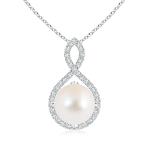 (June Birthstone - Floating Freshwater Cultured Pearl and Diamond Infinity Twist Necklace for Women in Silver (Pearl Size - 10mm))