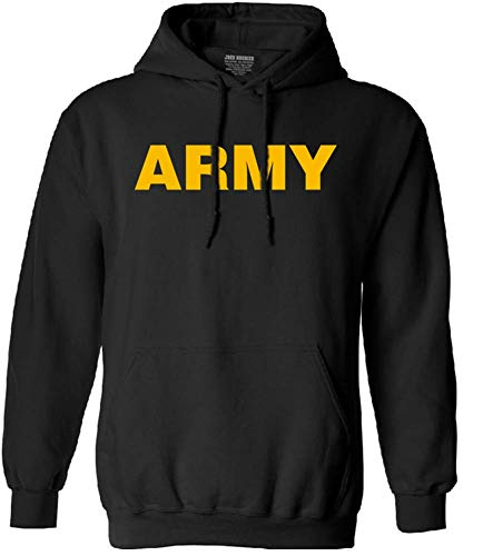 - Joe's USA - Gold Army Logo Hoodie- GoldArmy Hooded Sweatshirt, Size M
