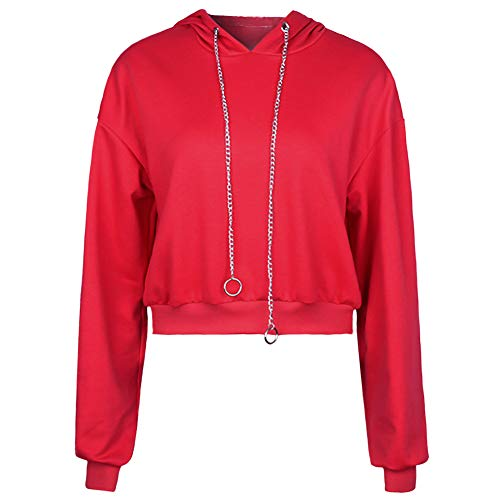 (Perfashion Women's Cropped Hoodie Red Pullover Sports Casual Metallic Drawstring Crop Tops Sweatshirts, Red, Small)