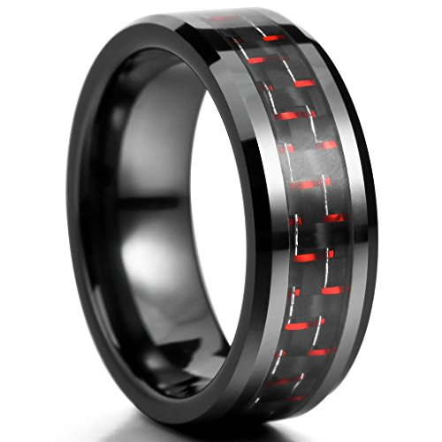 Dr Who Costumes Nz (Epinki,Fashion Jewelry Men's 8mm Ceramic Carbon Rings Comfort Fit Band Black Red Wedding Polished Unique Size 8)