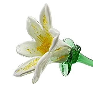 "White Glass Lily Flower, One-of-a-kind. Life Size 20"" long. FREE SHIPPING to the lower 48 when you spend over $35.00 11"