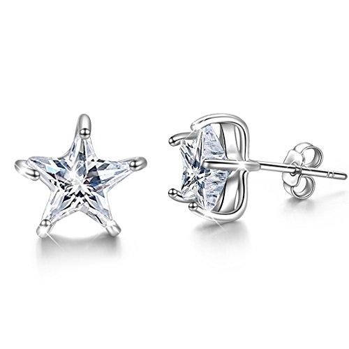 Zircon Star - JUFU 925 Sterling Silver Earrings 0.8ct Cubic Zircon Star Stud Earring for Women Wedding Party New Jewelry