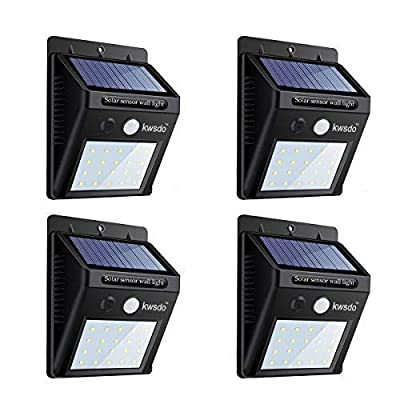 Solar Lights Outdoor, Sandm, Super Bright LED Solar Motion Sensor Lights, Wireless Waterproof Security Lights for Garden, Yard, Wall, Outdoor Gate with Motion Activated Auto On/Off (20 LEDs, 4 Packs)
