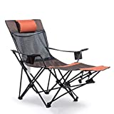 Heavy Duty Lawn Reclining Folding Camp Chair with Footrest - for Camping, Beach