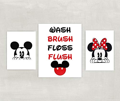 Minnie and Mickey Mouse Bathroom Prints - Silhouette - Wash Brush Floss Flush Set of 3 Prints ((unframed))