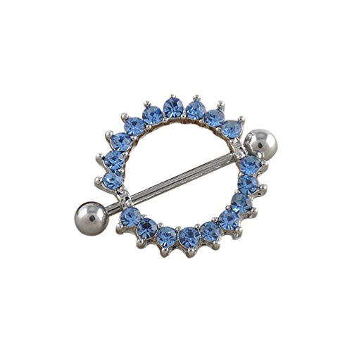 (qsbai Women Lady Fashion Nipple Ring Sunflower Heart Tongue Bar Rings Body Piercing Jewelry 1pc Blue Crystal Sunflower)