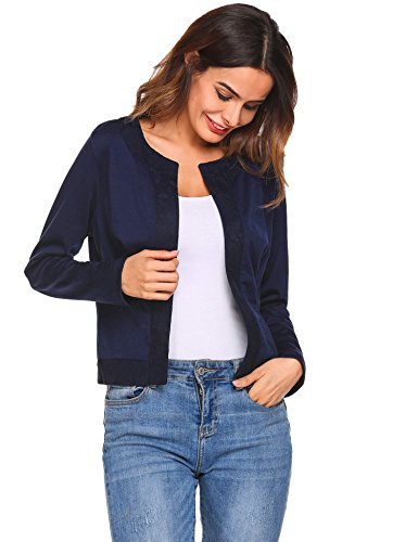 Concep Ladies Slim Fit Blazer with Lace Trim Long Sleeve Solid Casual Outwear Cropped Top (Navy Blue, S) Coat Lace Trim