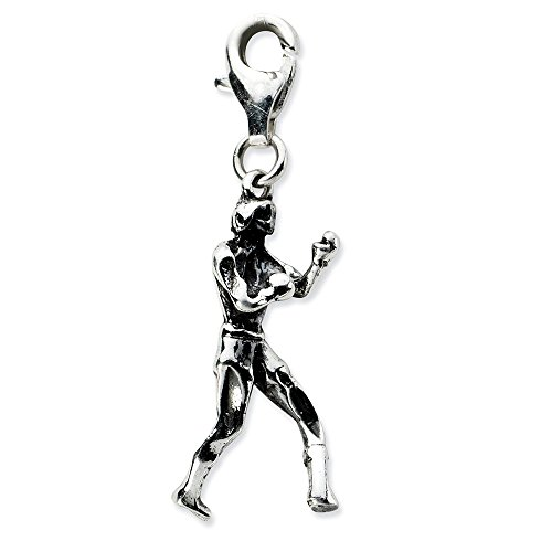 Best Birthday Gift Sterling Silver 3-D Antiqued Boxer w/Lobster Clasp Charm