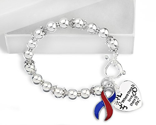 Pulmonary Fibrosis Awareness Red and Blue Ribbon Bracelet (Red Awareness Ribbon Bracelet)