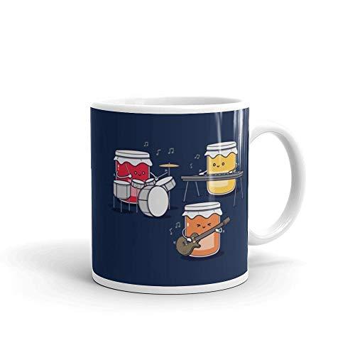 Jam Session 11 oz Ceramic White Mug, Funny Gift Present For Mom, Dad, Friends, Husband Or Wife, Birthday, -
