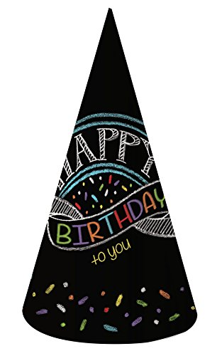 Creative Converting 8 Count Chalk Birthday Paper Party Hats, Adult Size, -