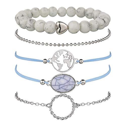 krun Map Bracelets for Women Girls Adjustable Beaded Charm Stretch Stack Strand Bangle Bracelets Set