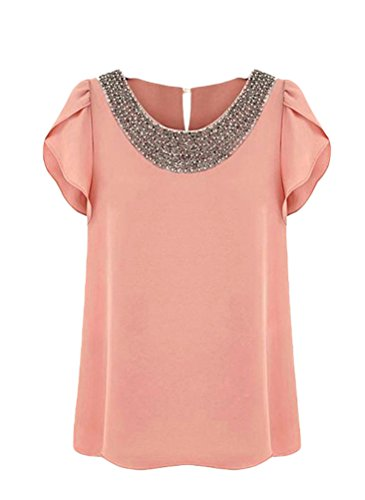 Bluetime Women's Leaf Sleeve Chiffon Embellished Bead Collar Blouses (XXL, Nude Pink)