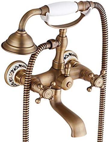 バスタブ蛇口-アンティーク/伝統的なアンティーク銅センターセットセラミックバルブバスシャワーミキサータップ/ 2つのハンドル2つの穴,真鍮