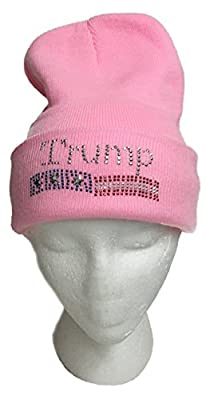 DONALD TRUMP Rhinestone Stud Knit Beanie Watch Hat (PINK)