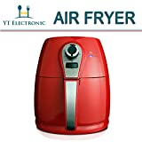 Kitchen & Housewares : 1400W Air fryer, Healthy Smokeless Low-Fat Non-stick Multi-Cooker Oilless Cooker, 4L 3.8QT Capacity with Timer and Temperature Control and Detachable Basket Handles (Red)