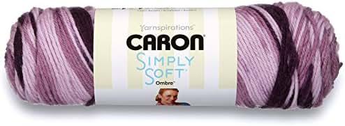 Caron Simply Soft Ombre Yarn (4) Medium Gauge 100% Acrylic - 5oz - Grape Purple -  Machine Wash & Dry