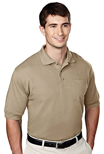Tri Mountain Mens Big And Tall Golf Shirt With Pocket Khaki Large