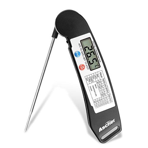 Digitale Küchenthermometer -Ascher Digitales Universales Haushaltsthermometer/ Bratenthermometer/ Küchen Einstichthermometer für Kochen Küche Lebensmittel Fleisch BBQ Jam Wein Steak Candy (Schwarz)