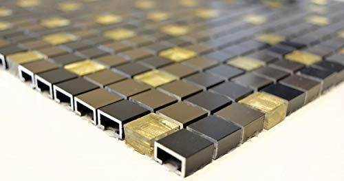 Mosaik Fliese Aluminium Transluzent Alu Glasmosaik Crystal schwarz bronze gold MOS49-A401/_m