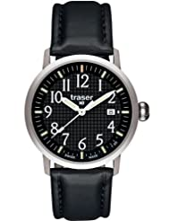 Traser Classic Basic Watch with Leather Strap - Black by Traser