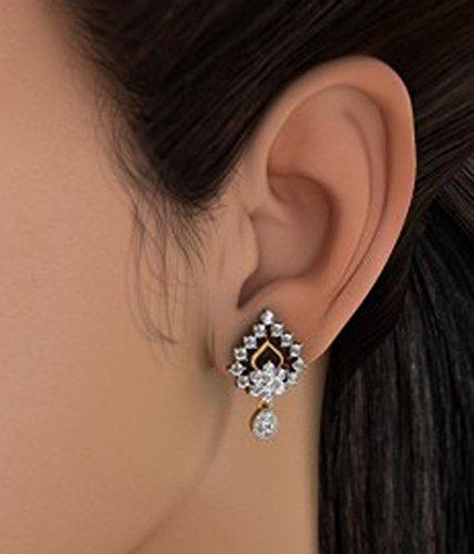 Or jaune 18K 1.01carat au total White-diamond (IJ | SI) Pendants d'oreilles