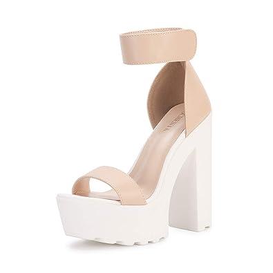 49cf72d046 OCHENTA Women's Fashion Platform Lug Sole Chunky High Heel Sandals Beige  Tag Size 35 - US