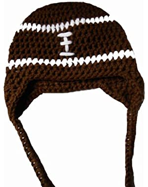 Handmade Football Beanie in Brown & White / Hat Size 0-3 Months