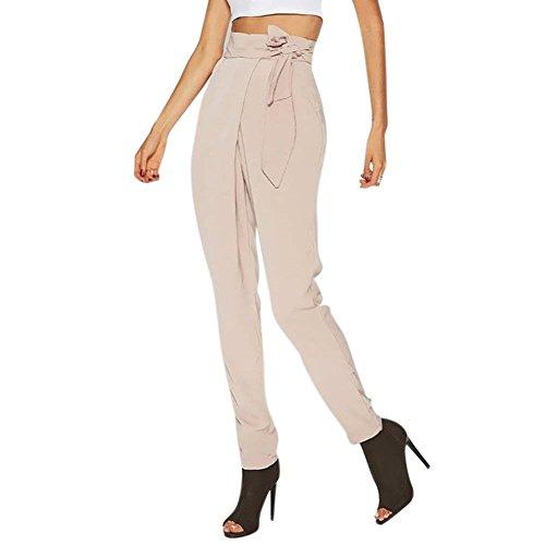 Monocromo Pantaloni Tasche Fit Stoffa Vita Giovane A Donna Cravatta Bendare Trousers Con Primaverile Sottile Di Costume Farfalla Lunga Beige Alta Moda Femminile Accogliente Slim Eleganti rUrwX6On