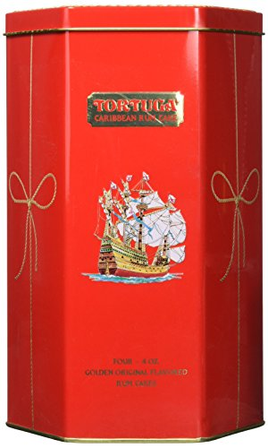 Tortuga Caribbean Golden Original Rum Cake Gift Pack 4oz - 4 Pack in Keepsake Tin