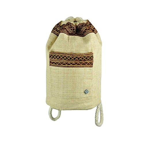 virblatt borsa a spalla fatta in canapa naturale 100 % decorata con motivi etnici intrecciati a mano come abbigliamento etnico – Ideal