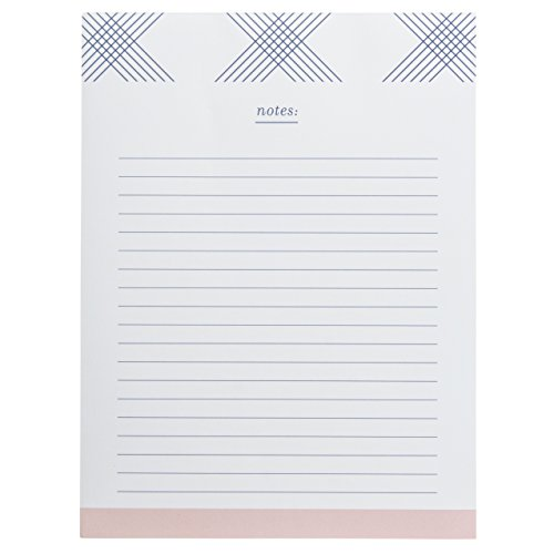 """Graphique Blue Plaid Large Notepad, Modern """"Notes"""" Notepad with 150 Tear-Off Sheets and Chic Design, Perfect for Kitchen Counters, Nightstands, Desks, and More, 6"""" x 8"""""""