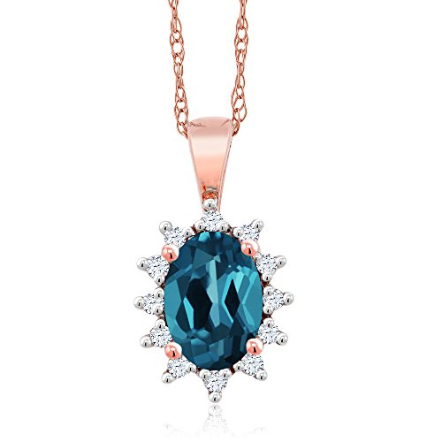 Gem Stone King 18K Rose Gold 0.58 Ct Oval London Blue Topaz White Diamond Pendant ()