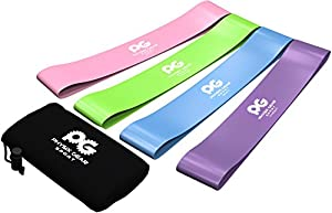 PHYSIX GEAR SPORT Resistance Loop Bands Set 4 - Best Home Fitness Exercise Bands for Legs, Crossfit Workout, Physical Therapy, Pilates, Yoga & Rehab - Improve Mobility and Strength Training
