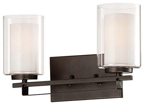 - Minka Lavery Wall Light Fixtures 6102-172 Parsons Studio Glass Bath Vanity Lighting, 2 Light, Smoked Iron