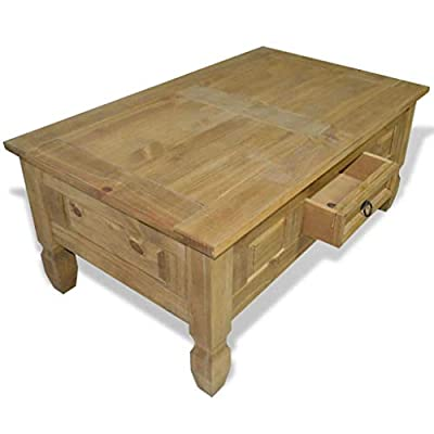 Festnight Vintage Coffee Table with Storage, Antique Handmade End Side Table Living Room Furniture, Corona Style