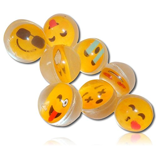 Custom & Unique {25mm} 8 Lot Pack, Mid-Size Super High Bouncy Balls, Made of Grade A+ Rebound Rubber W/ Smiley, Kissing, Heart Eyes, Crying, Sunglasses, X Eyes, Grin, Blushing Emoji - Sale Sunglasses When Do On Go
