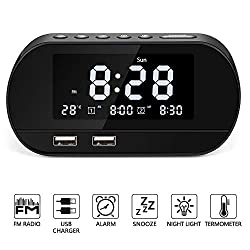 Alarm Clock Radio, Radio Alarm Clock with FM Radio for Bedroom, Digital Alarm Clock with Dual USB Charger Ports Battery Backup Dual Alarms and 6 Alarm Sounds,Dimmer LED Display,Snooze Sleep Timer