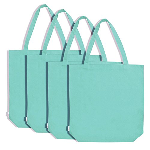 Augbunny 100% Cotton Canvas Shopping Tote Bag Grocery Bag 4-pack (Pack 4 Cotton)